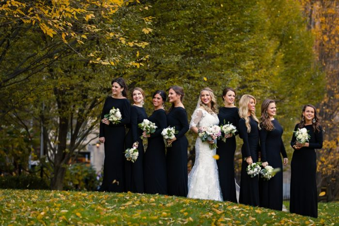 Black Bridesmaids Dresses: Elegant Striped Wedding at the Wyndham Grand Pittsburgh from Kristen Wynn Photography featured on Burgh Brides