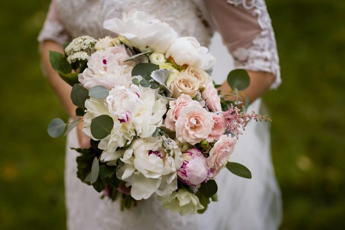 Peony Bridal Bouquet: Elegant Striped Wedding at the Wyndham Grand Pittsburgh from Kristen Wynn Photography featured on Burgh Brides