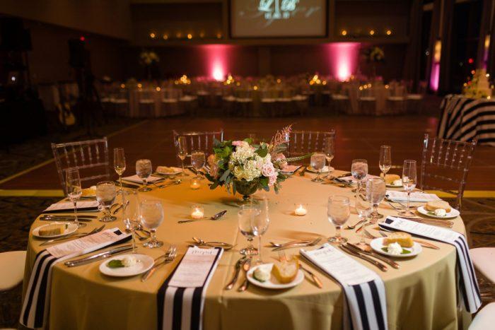 Striped Wedding Decor: Elegant Striped Wedding at the Wyndham Grand Pittsburgh from Kristen Wynn Photography featured on Burgh Brides