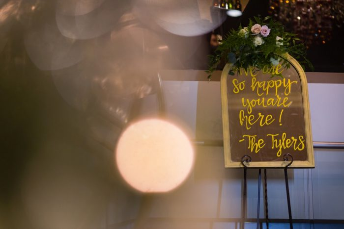 Mirror Wedding Sign: Elegant Striped Wedding at the Wyndham Grand Pittsburgh from Kristen Wynn Photography featured on Burgh Brides