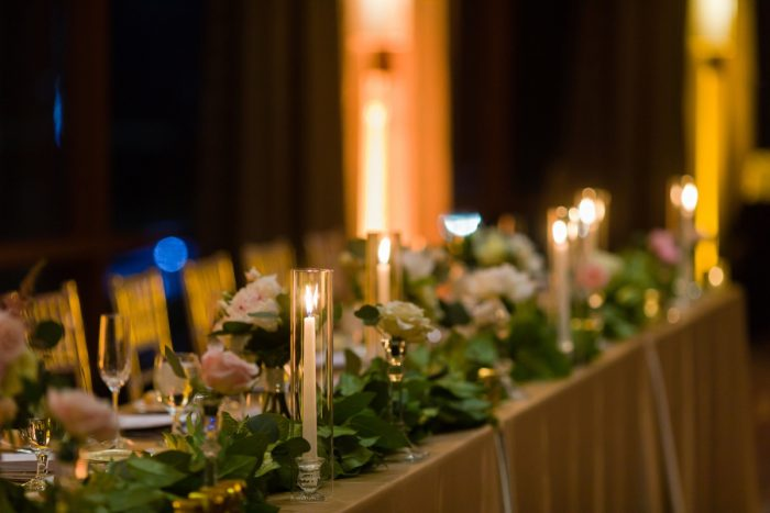 Wedding Head Table Decor: Elegant Striped Wedding at the Wyndham Grand Pittsburgh from Kristen Wynn Photography featured on Burgh Brides