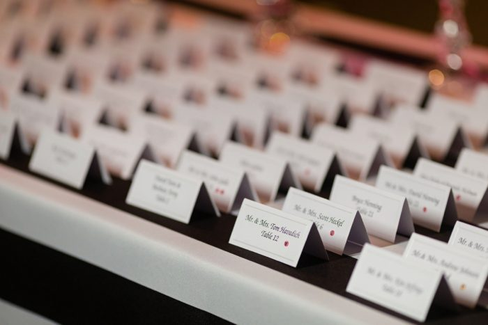 Wedding Escort Cards: Elegant Striped Wedding at the Wyndham Grand Pittsburgh from Kristen Wynn Photography featured on Burgh Brides