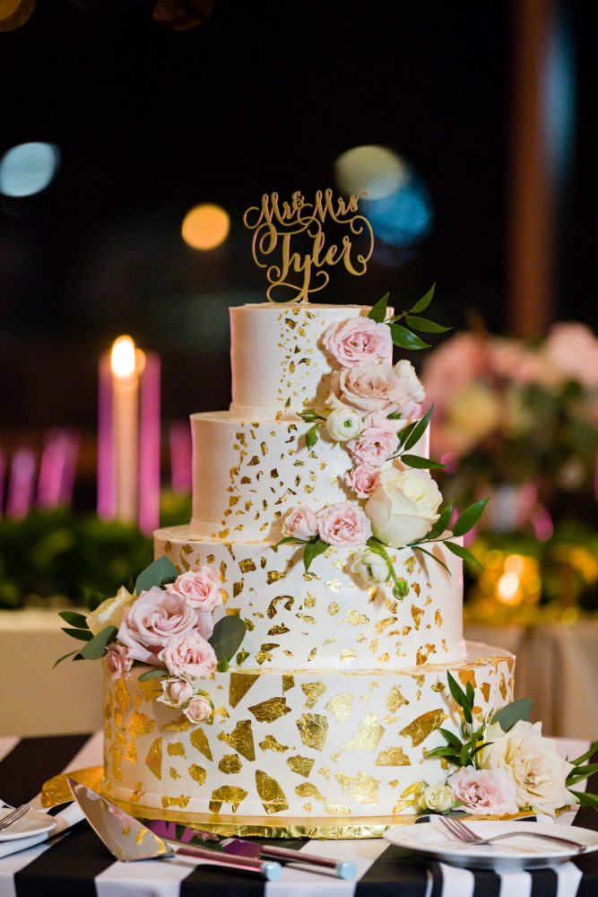 Gold Wedding Cake: Elegant Striped Wedding at the Wyndham Grand Pittsburgh from Kristen Wynn Photography featured on Burgh Brides
