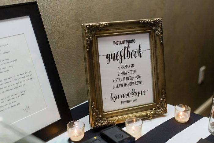 Unique Wedding Guest Book: Elegant Striped Wedding at the Wyndham Grand Pittsburgh from Kristen Wynn Photography featured on Burgh Brides