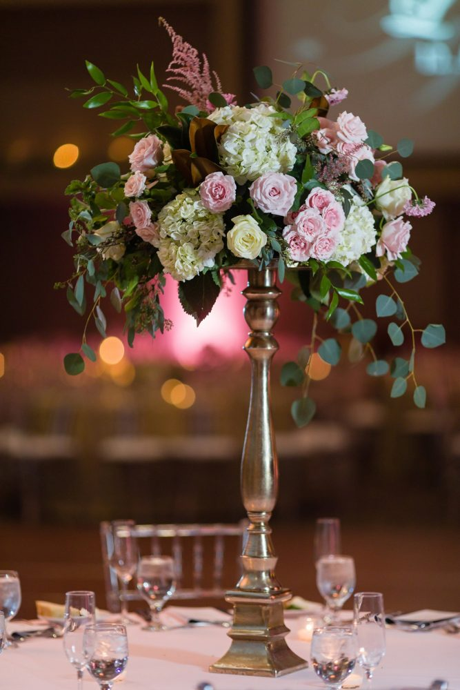 Pink Wedding Flowers: Elegant Striped Wedding at the Wyndham Grand Pittsburgh from Kristen Wynn Photography featured on Burgh Brides