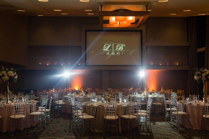 Wedding Lighting Ideas: Elegant Striped Wedding at the Wyndham Grand Pittsburgh from Kristen Wynn Photography featured on Burgh Brides