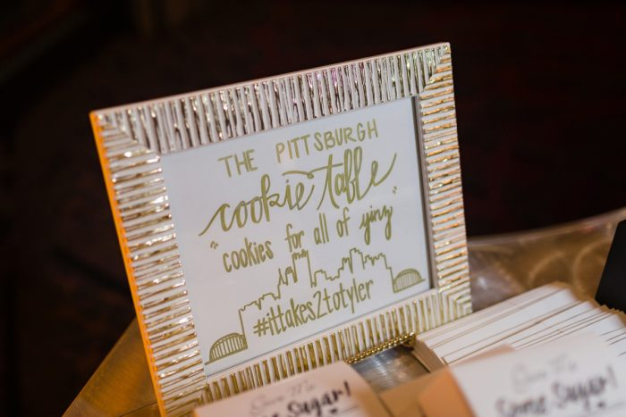Pittsburgh Cookie Table: Elegant Striped Wedding at the Wyndham Grand Pittsburgh from Kristen Wynn Photography featured on Burgh Brides