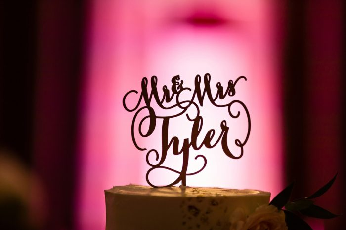 Wedding Cake Topper: Elegant Striped Wedding at the Wyndham Grand Pittsburgh from Kristen Wynn Photography featured on Burgh Brides