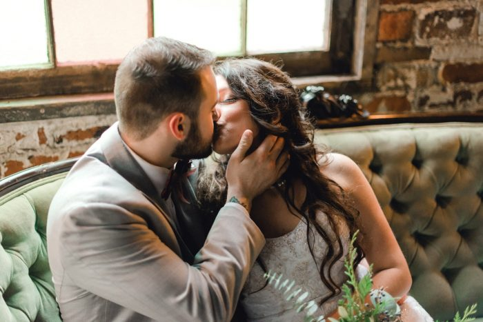 Bride and Groom Kiss: Enchanting Forest Inspired Wedding from Dawn Derbyshire Photography featured on Burgh Brides