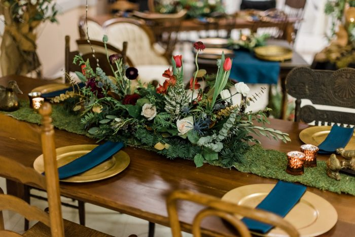 Jewel Tone Wedding Decor: Enchanting Forest Inspired Wedding from Dawn Derbyshire Photography featured on Burgh Brides