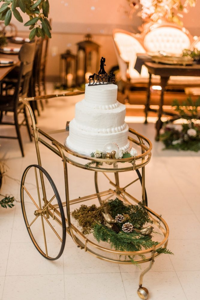 Vintage Bar Cart for Wedding Cake: Enchanting Forest Inspired Wedding from Dawn Derbyshire Photography featured on Burgh Brides