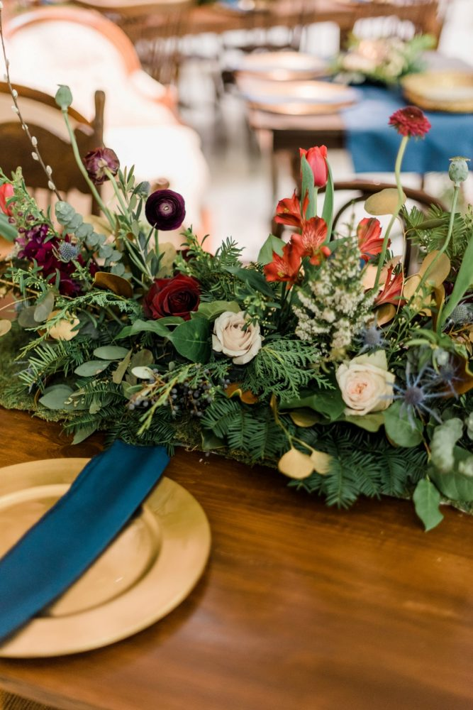 Jewel Tone Wedding Tablescape: Enchanting Forest Inspired Wedding from Dawn Derbyshire Photography featured on Burgh Brides
