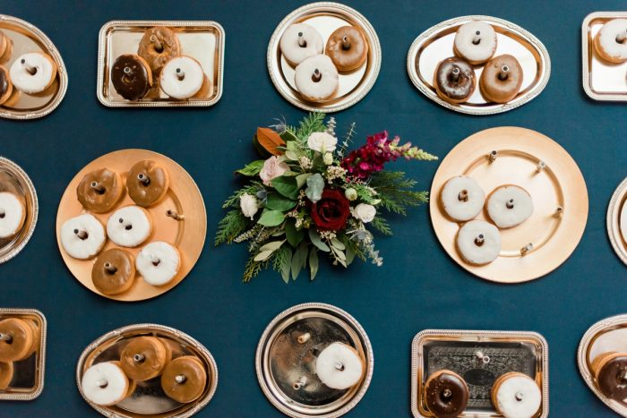 Wedding Donut Wall: Enchanting Forest Inspired Wedding from Dawn Derbyshire Photography featured on Burgh Brides