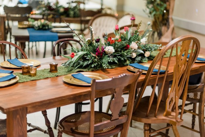 Wooden Wedding Tables: Enchanting Forest Inspired Wedding from Dawn Derbyshire Photography featured on Burgh Brides
