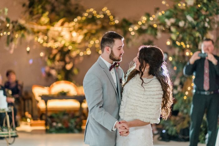 Bride and Groom First Dance: Enchanting Forest Inspired Wedding from Dawn Derbyshire Photography featured on Burgh Brides