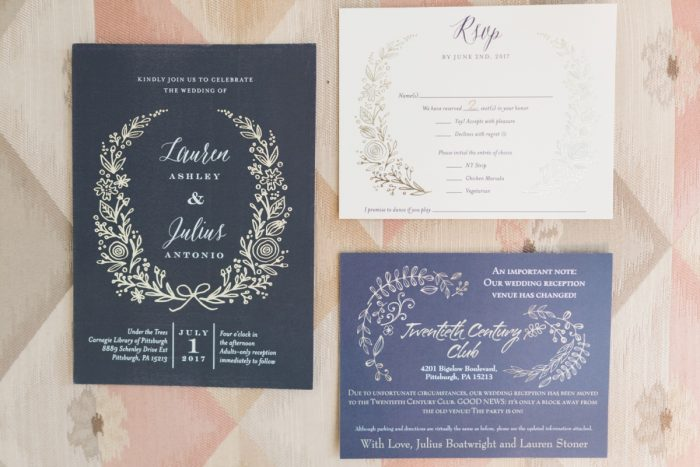 Navy Blue Wedding Invitations: Fresh Vintage Inspired Wedding at the Twentieth Century Club from Levana Melamed Photography featured on Burgh Brides