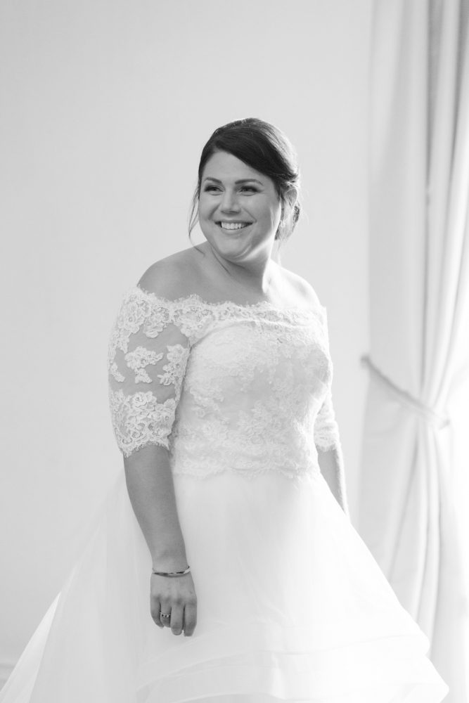 Off the Shoulder Wedding Dress: Fresh Vintage Inspired Wedding at the Twentieth Century Club from Levana Melamed Photography featured on Burgh Brides