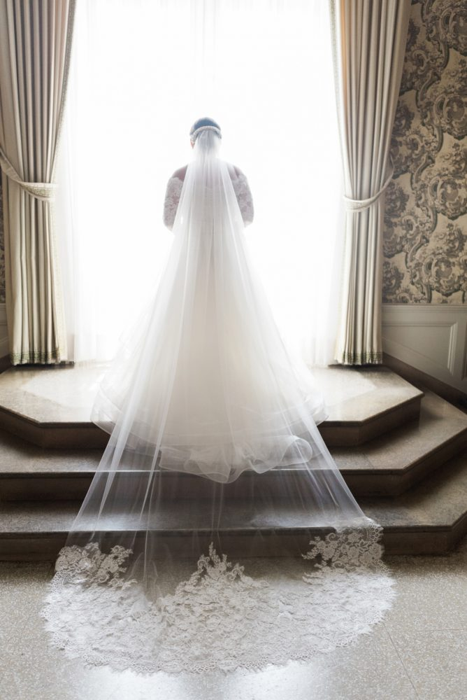 Bridal Lace Veil: Fresh Vintage Inspired Wedding at the Twentieth Century Club from Levana Melamed Photography featured on Burgh Brides