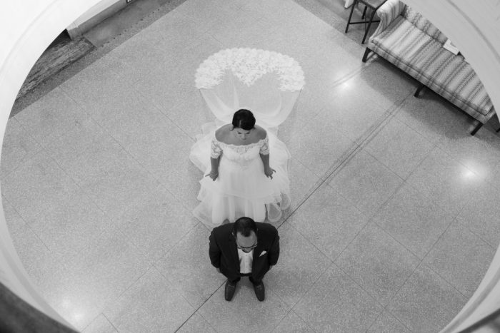 Wedding First Look: Fresh Vintage Inspired Wedding at the Twentieth Century Club from Levana Melamed Photography featured on Burgh Brides