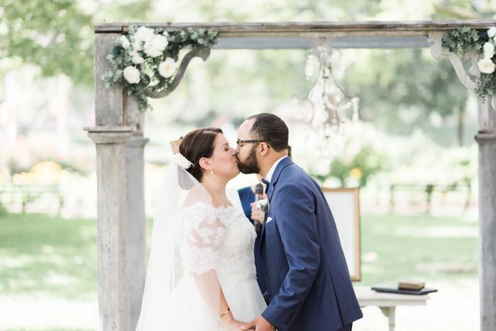 Bride and Groom First Kiss: Fresh Vintage Inspired Wedding at the Twentieth Century Club from Levana Melamed Photography featured on Burgh Brides