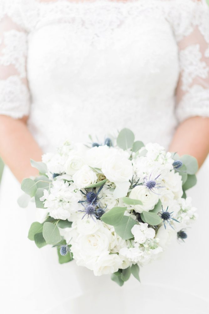 White, Blue, and Green Wedding Flowers: Fresh Vintage Inspired Wedding at the Twentieth Century Club from Levana Melamed Photography featured on Burgh Brides