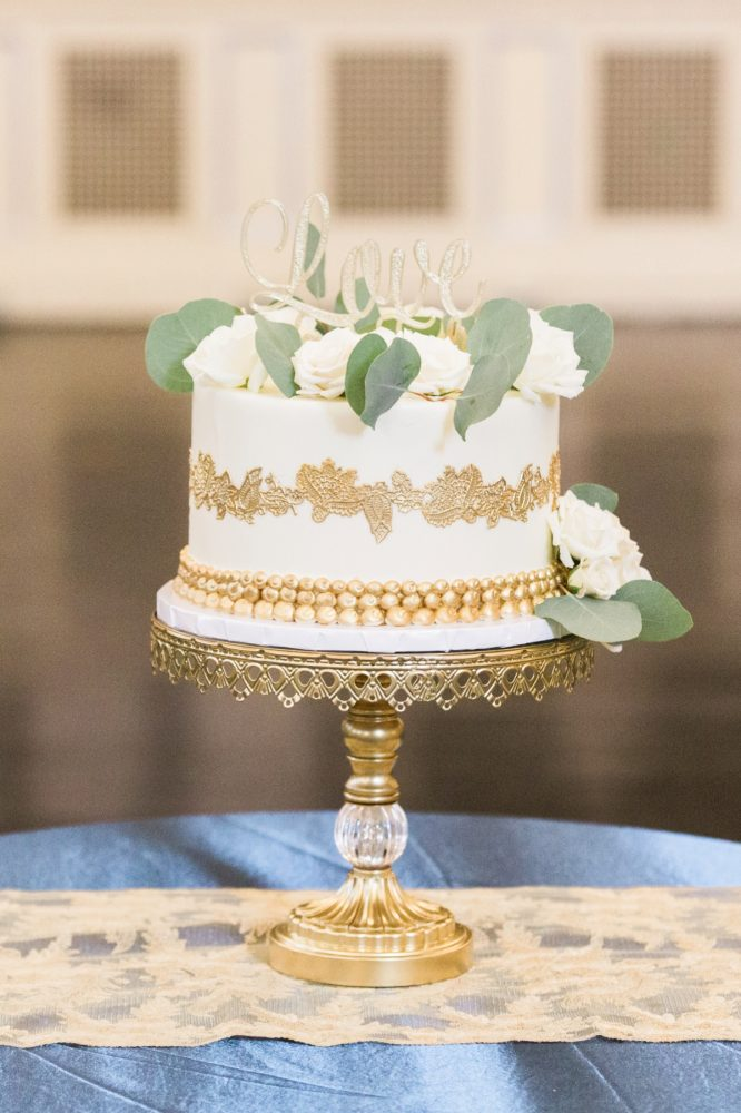 White and Gold Wedding Cake: Fresh Vintage Inspired Wedding at the Twentieth Century Club from Levana Melamed Photography featured on Burgh Brides