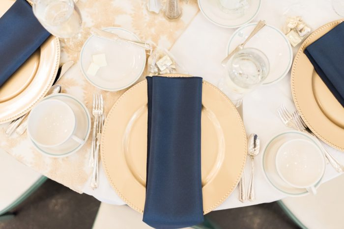 Gold and Navy Wedding Tablescape: Fresh Vintage Inspired Wedding at the Twentieth Century Club from Levana Melamed Photography featured on Burgh Brides