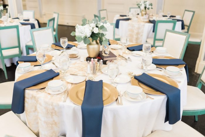 Navy & Gold Wedding Tablescape: Fresh Vintage Inspired Wedding at the Twentieth Century Club from Levana Melamed Photography featured on Burgh Brides