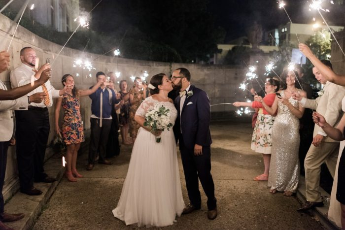 Wedding Sparkler Exit: Fresh Vintage Inspired Wedding at the Twentieth Century Club from Levana Melamed Photography featured on Burgh Brides