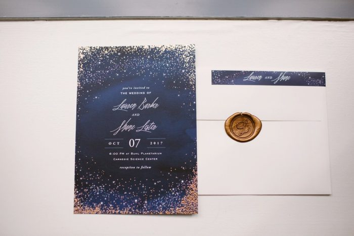 Celestial Wedding Invitations: Small Eclectic Wedding at Smallman Galley from Caitlin Thomas Photography featured on Burgh Brides