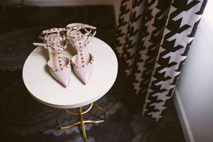 Studded Bridal Shoes: Small Eclectic Wedding at Smallman Galley from Caitlin Thomas Photography featured on Burgh Brides