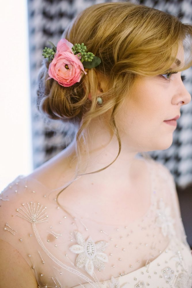 Floral Bridal Hair Accessory: Small Eclectic Wedding at Smallman Galley from Caitlin Thomas Photography featured on Burgh Brides