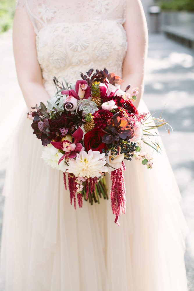 Marsala Bridal Bouquet: Small Eclectic Wedding at Smallman Galley from Caitlin Thomas Photography featured on Burgh Brides