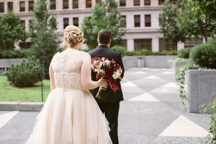 Bride and Groom First Look: Small Eclectic Wedding at Smallman Galley from Caitlin Thomas Photography featured on Burgh Brides