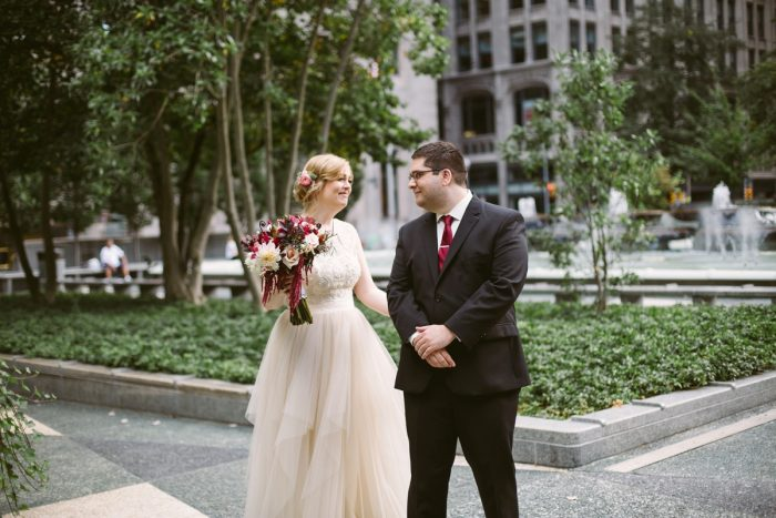 Blush Pink Wedding Dress: Small Eclectic Wedding at Smallman Galley from Caitlin Thomas Photography featured on Burgh Brides