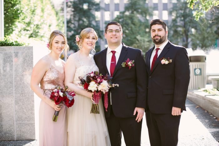 Marsala and Pink Wedding Ideas: Small Eclectic Wedding at Smallman Galley from Caitlin Thomas Photography featured on Burgh Brides
