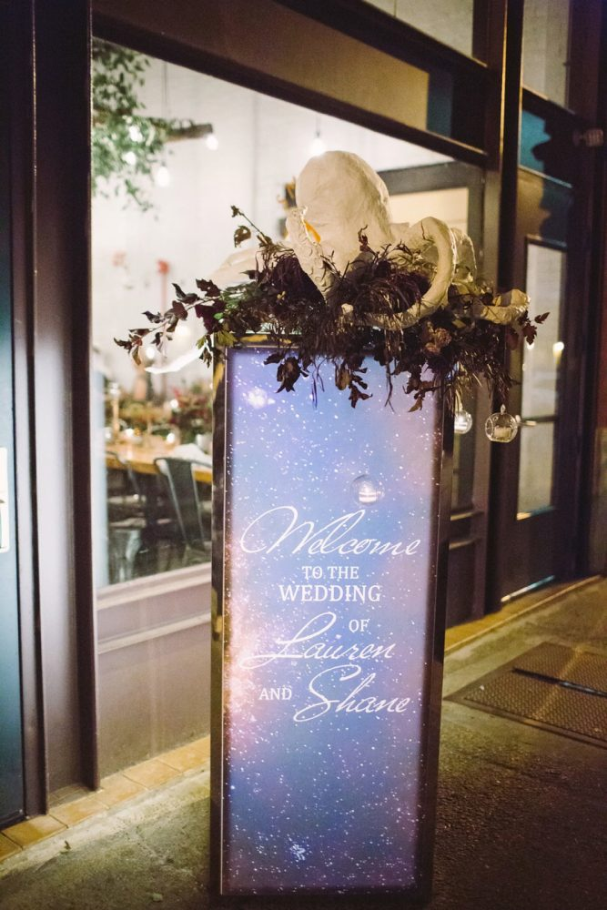Wedding Welcome Sign: Small Eclectic Wedding at Smallman Galley from Caitlin Thomas Photography featured on Burgh Brides