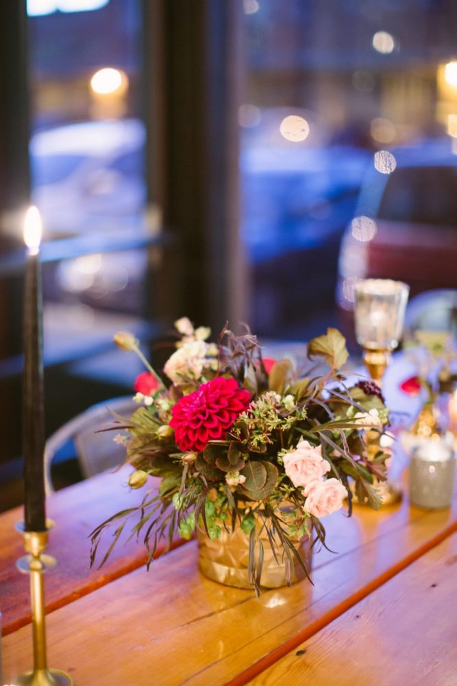 Pink and Gold Wedding Centerpieces: Small Eclectic Wedding at Smallman Galley from Caitlin Thomas Photography featured on Burgh Brides