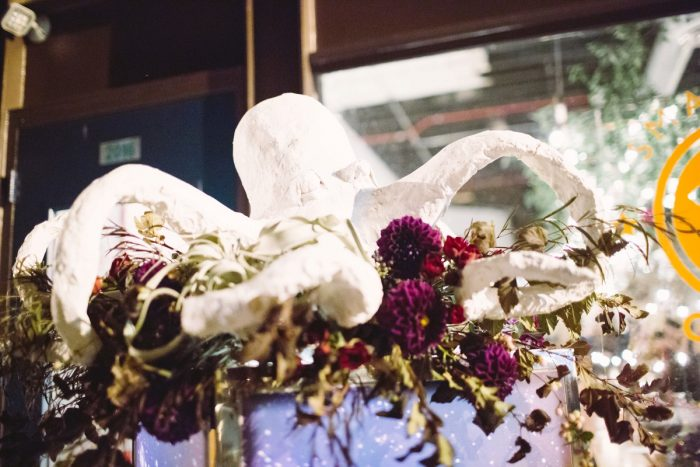 Hanging Wedding Decor: Small Eclectic Wedding at Smallman Galley from Caitlin Thomas Photography featured on Burgh Brides