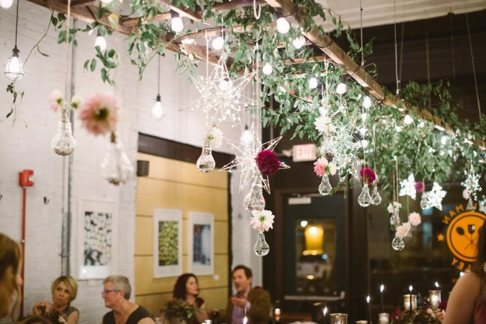 Hanging Wedding Floral Decor: Small Eclectic Wedding at Smallman Galley from Caitlin Thomas Photography featured on Burgh Brides