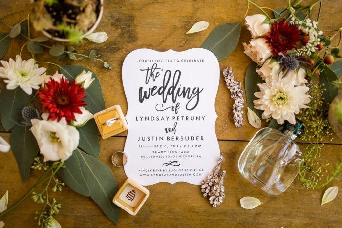 Modern Baroque Wedding Invitations: Vivid Fall Wedding at Shady Elms Farm from Jenna Hidinger Photography featured on Burgh Brides