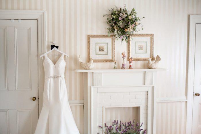 V Neck Wedding Dress: Vivid Fall Wedding at Shady Elms Farm from Jenna Hidinger Photography featured on Burgh Brides
