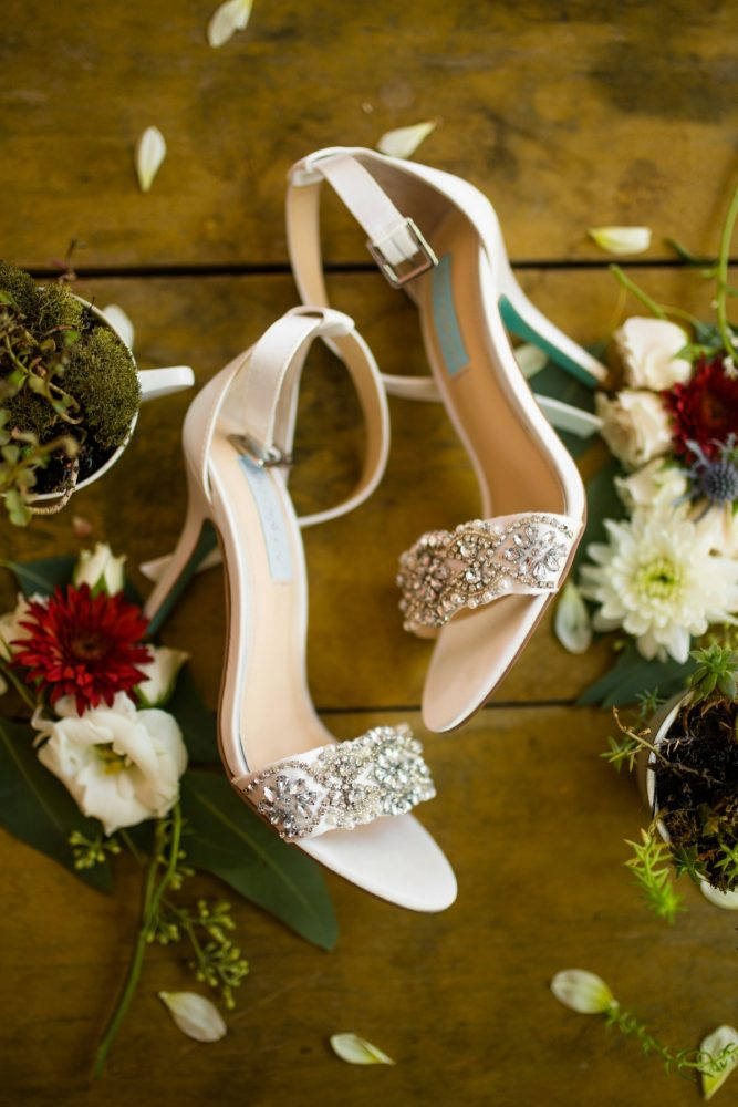 Beaded Wedding Shoes: Vivid Fall Wedding at Shady Elms Farm from Jenna Hidinger Photography featured on Burgh Brides