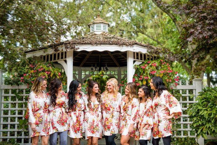 Floral Bridesmaids Robes: Vivid Fall Wedding at Shady Elms Farm from Jenna Hidinger Photography featured on Burgh Brides