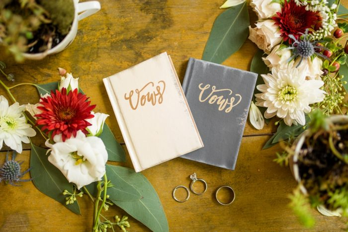Wedding Vow Books: Vivid Fall Wedding at Shady Elms Farm from Jenna Hidinger Photography featured on Burgh Brides