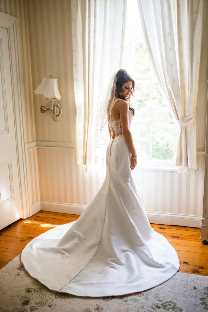 Key Back Wedding Dress: Vivid Fall Wedding at Shady Elms Farm from Jenna Hidinger Photography featured on Burgh Brides