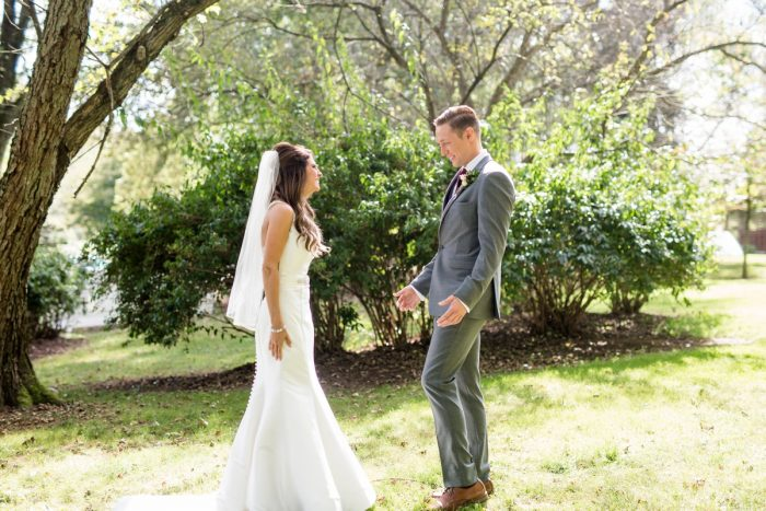 Wedding First Look: Vivid Fall Wedding at Shady Elms Farm from Jenna Hidinger Photography featured on Burgh Brides