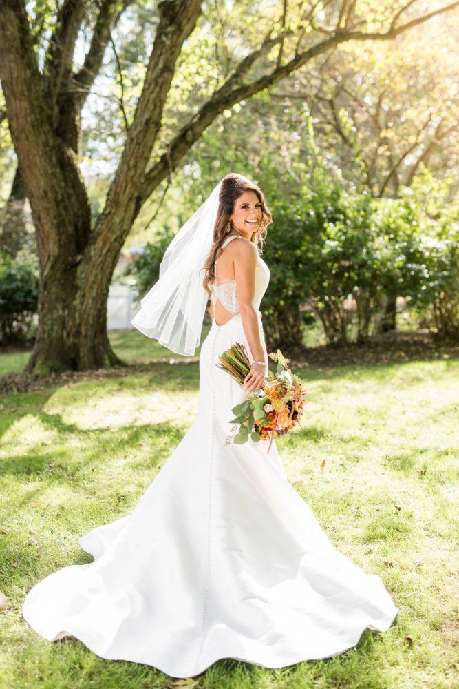 Key Hole Back Wedding Dress: Vivid Fall Wedding at Shady Elms Farm from Jenna Hidinger Photography featured on Burgh Brides