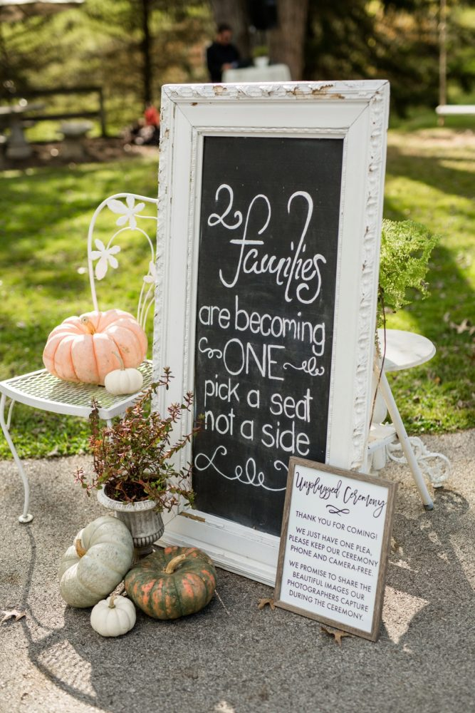 Wedding Ceremony Signs: Vivid Fall Wedding at Shady Elms Farm from Jenna Hidinger Photography featured on Burgh Brides