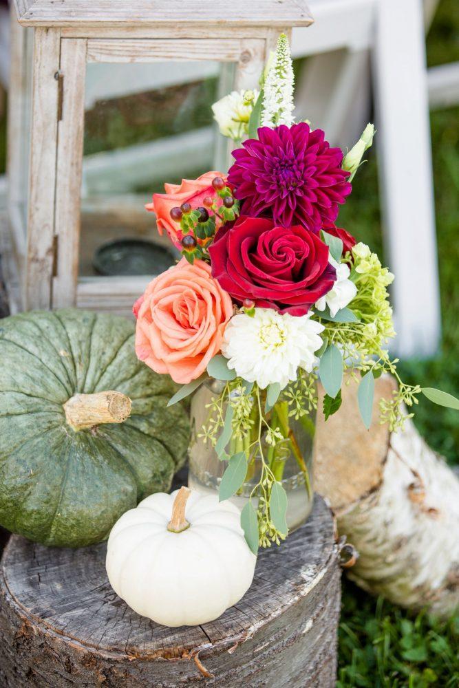 Wedding Ceremony Decor: Vivid Fall Wedding at Shady Elms Farm from Jenna Hidinger Photography featured on Burgh Brides
